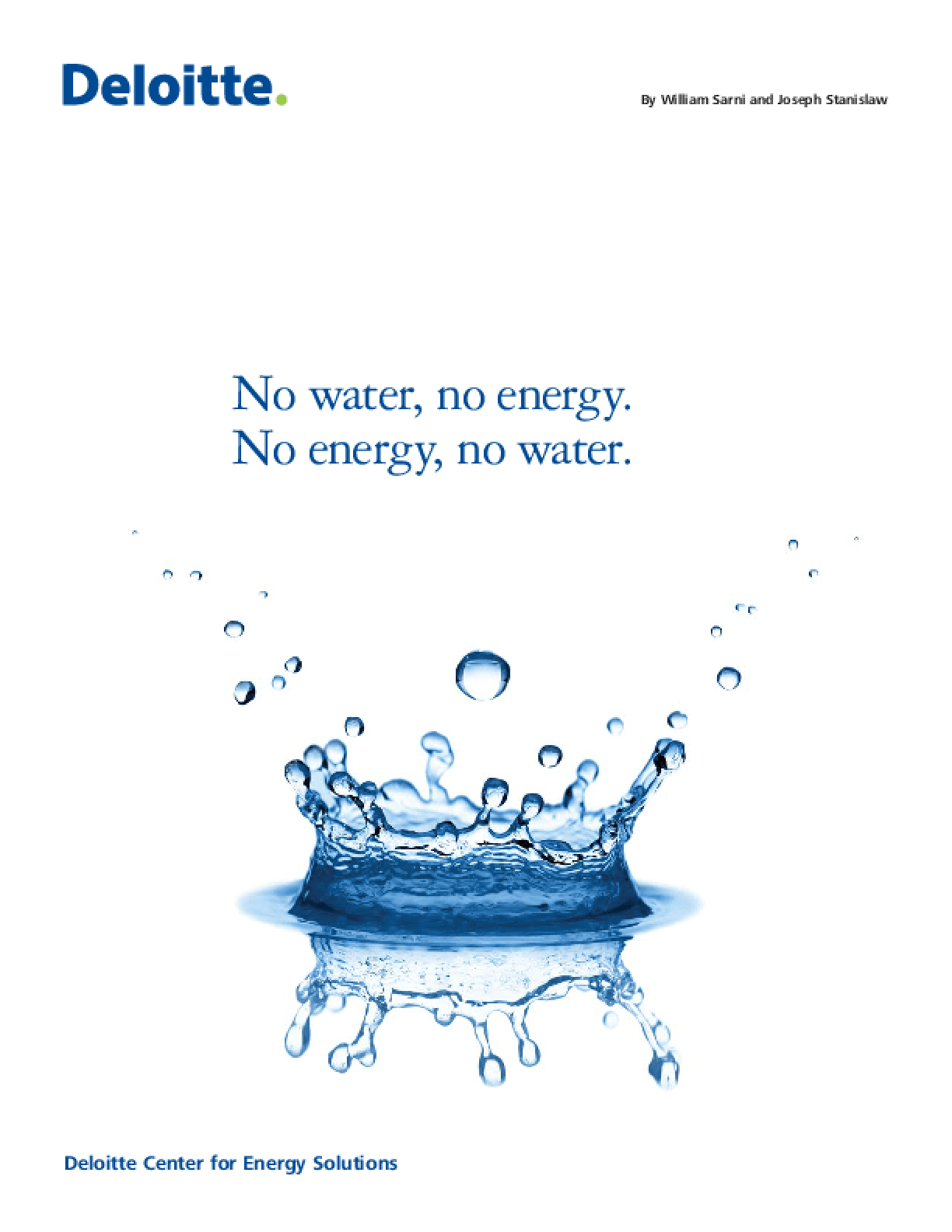 No Water, No Energy. No Energy, No Water.