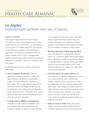 Los Angeles: Fragmented Health Care Market Shows Signs of Coalescing, 2013