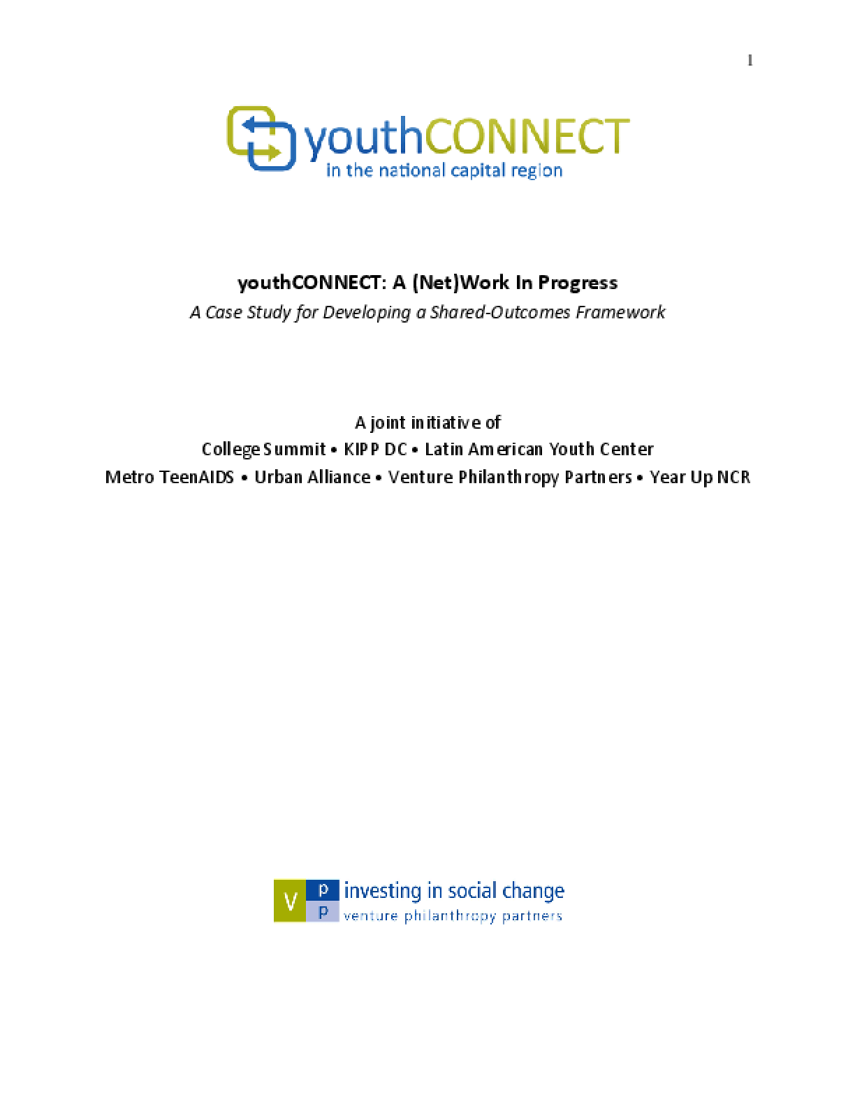 youthCONNECT: A (Net)Work In Progress - a Case Study for Developing a Shared-Outcomes Framework