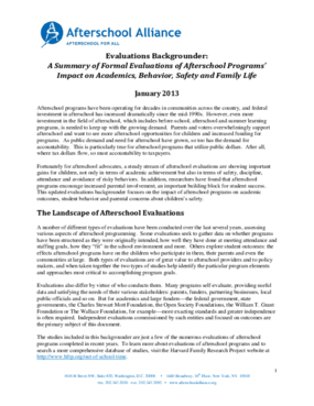 Evaluations Backgrounder: A Summary of Formal Evaluations of Afterschool Programs' Impact on Academics, Behavior, Safety and Family Life