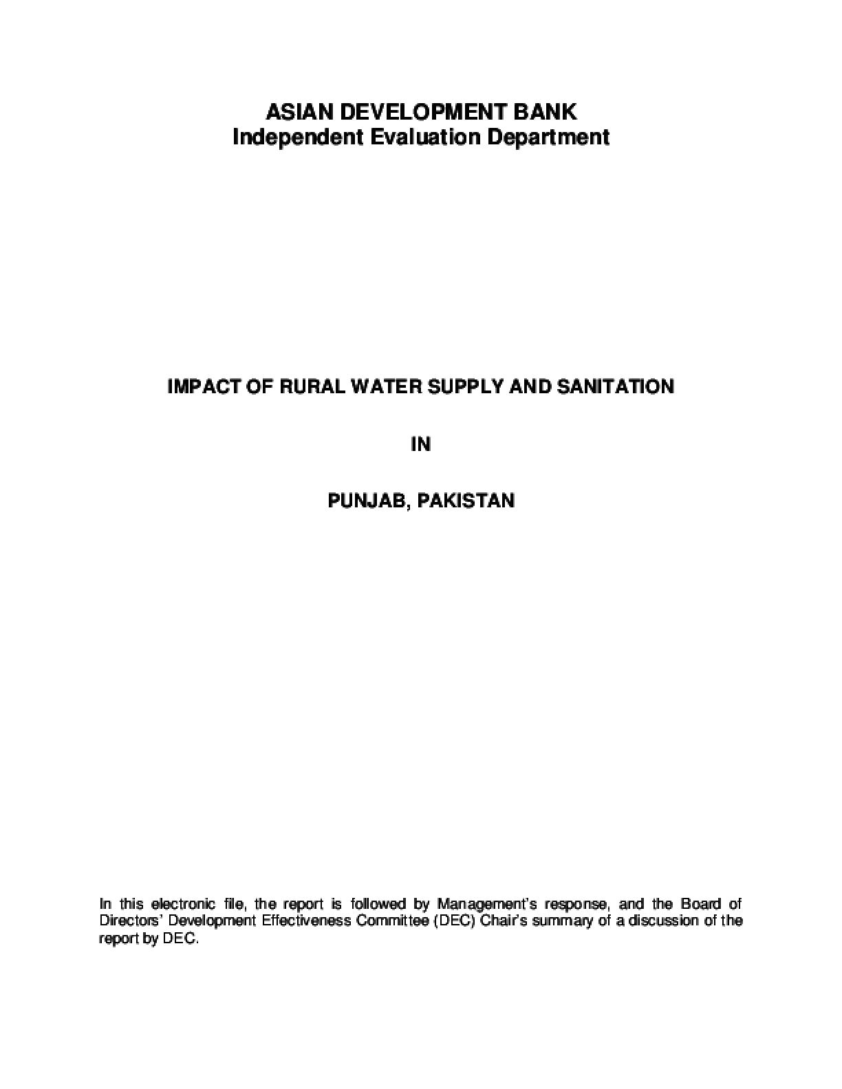 Impact of Rural Water Supply and Sanitation in Punjab, Pakistan