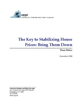 The Key to Stabilizing House Prices: Bring Them Down
