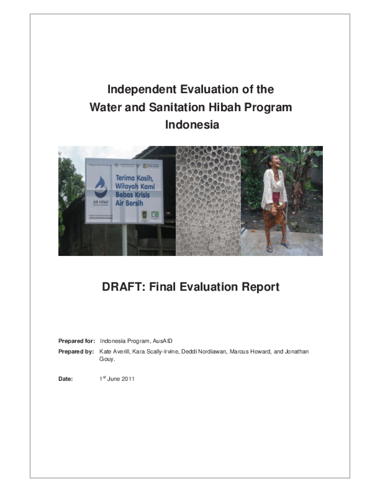 Independent Evaluation of the Water and Sanitation Hibah Program Indonesia