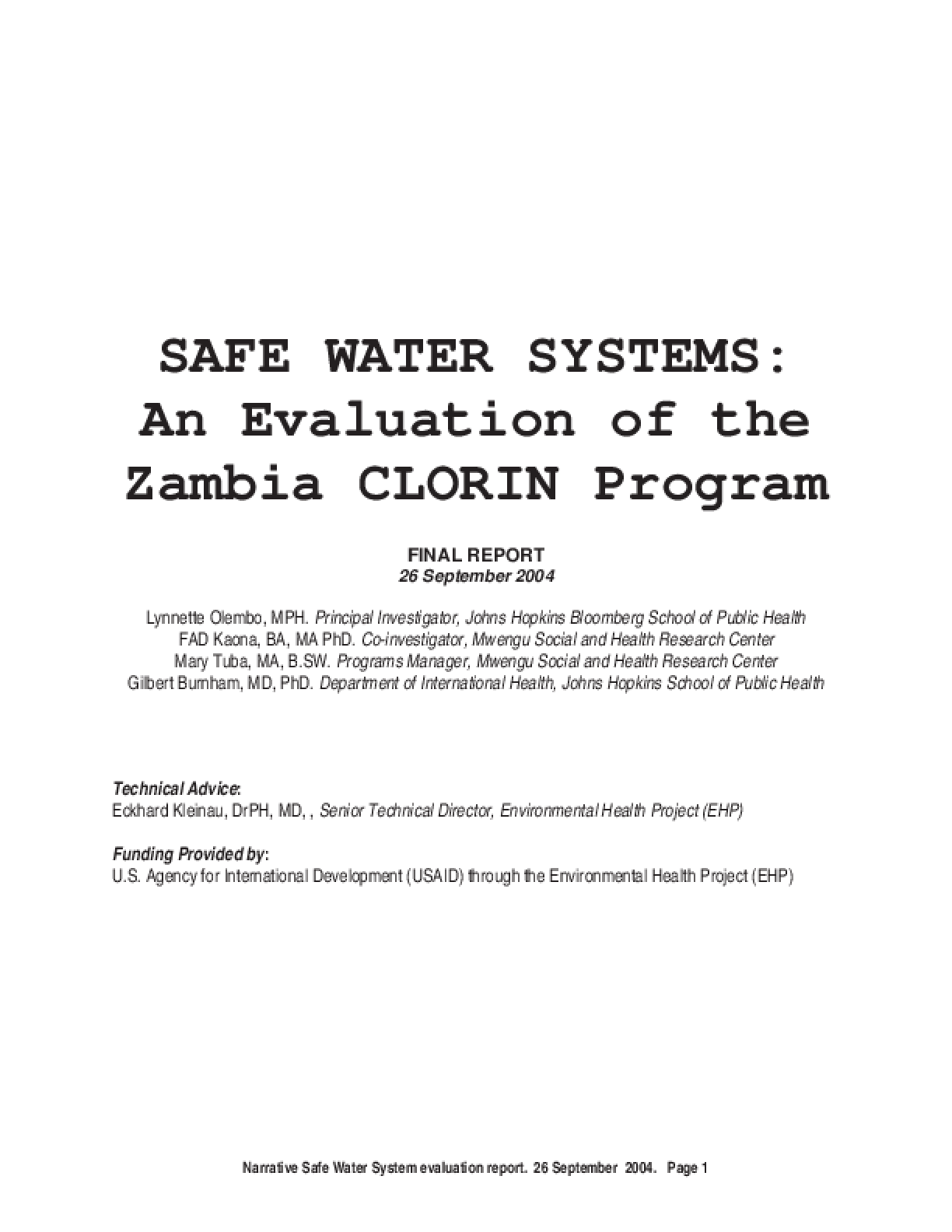 Safe Water Systems: An Evaluation of the Zambia Clorin Program