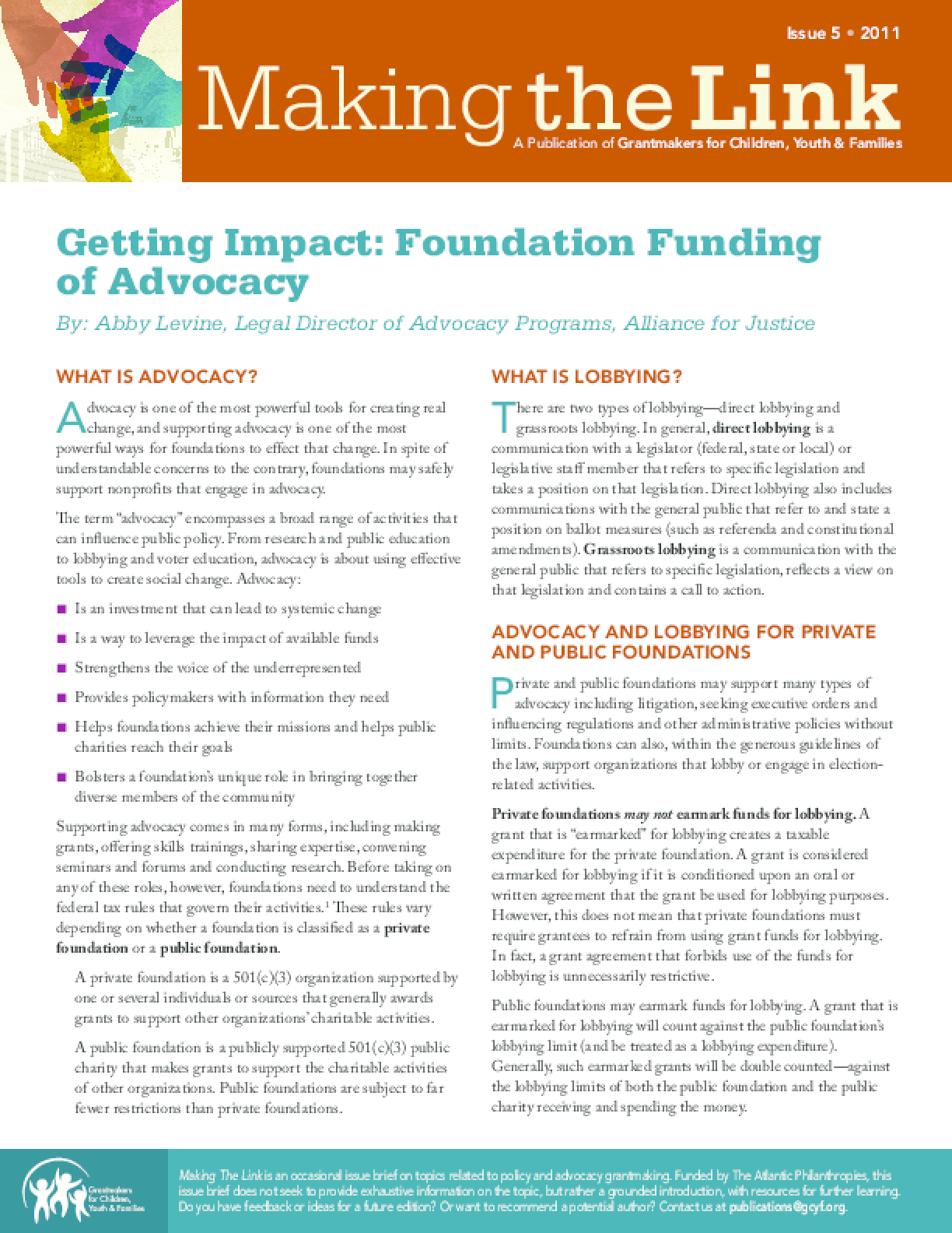 Getting Impact: Foundation Funding of Advocacy