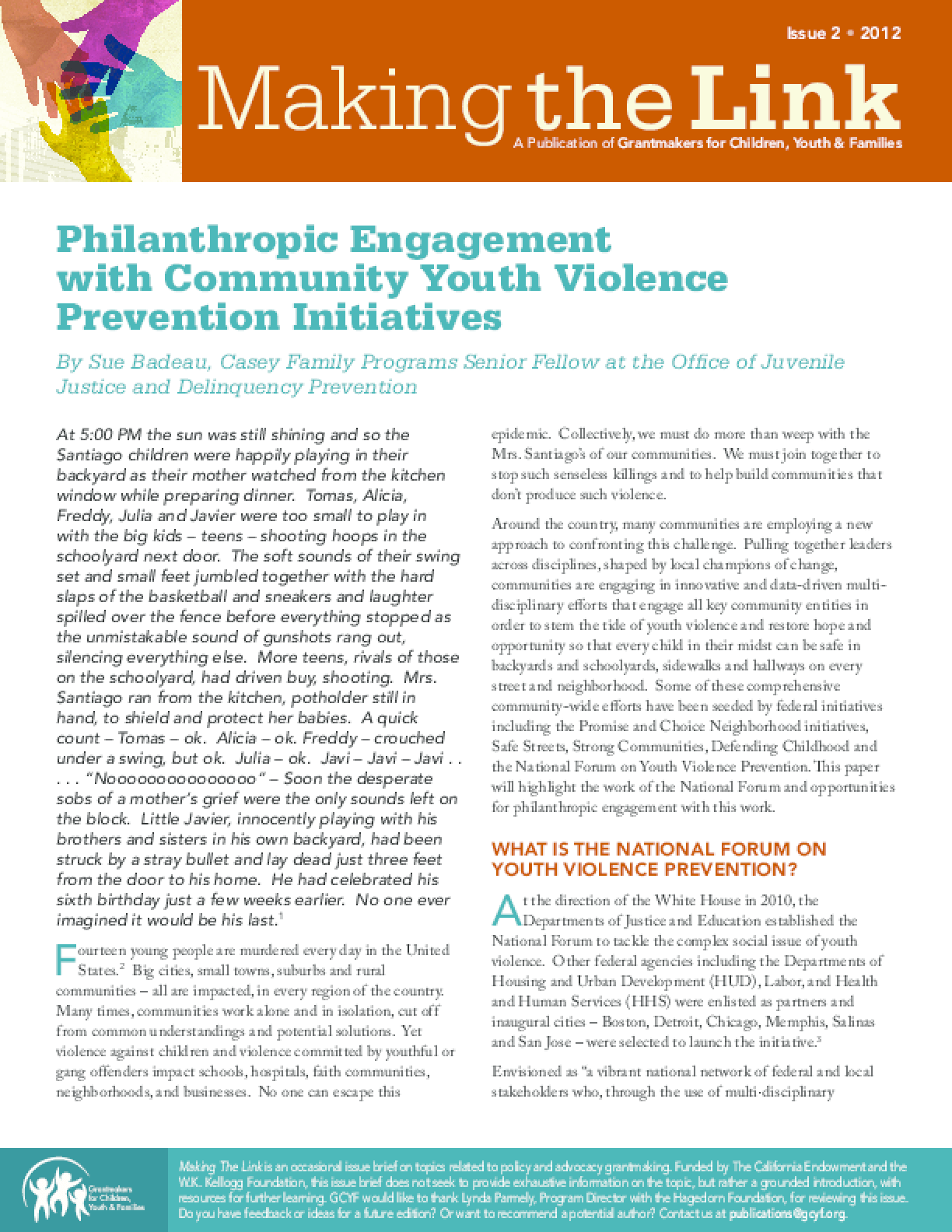 Philanthropic Engagement with Community Youth Violence Prevention Initiatives