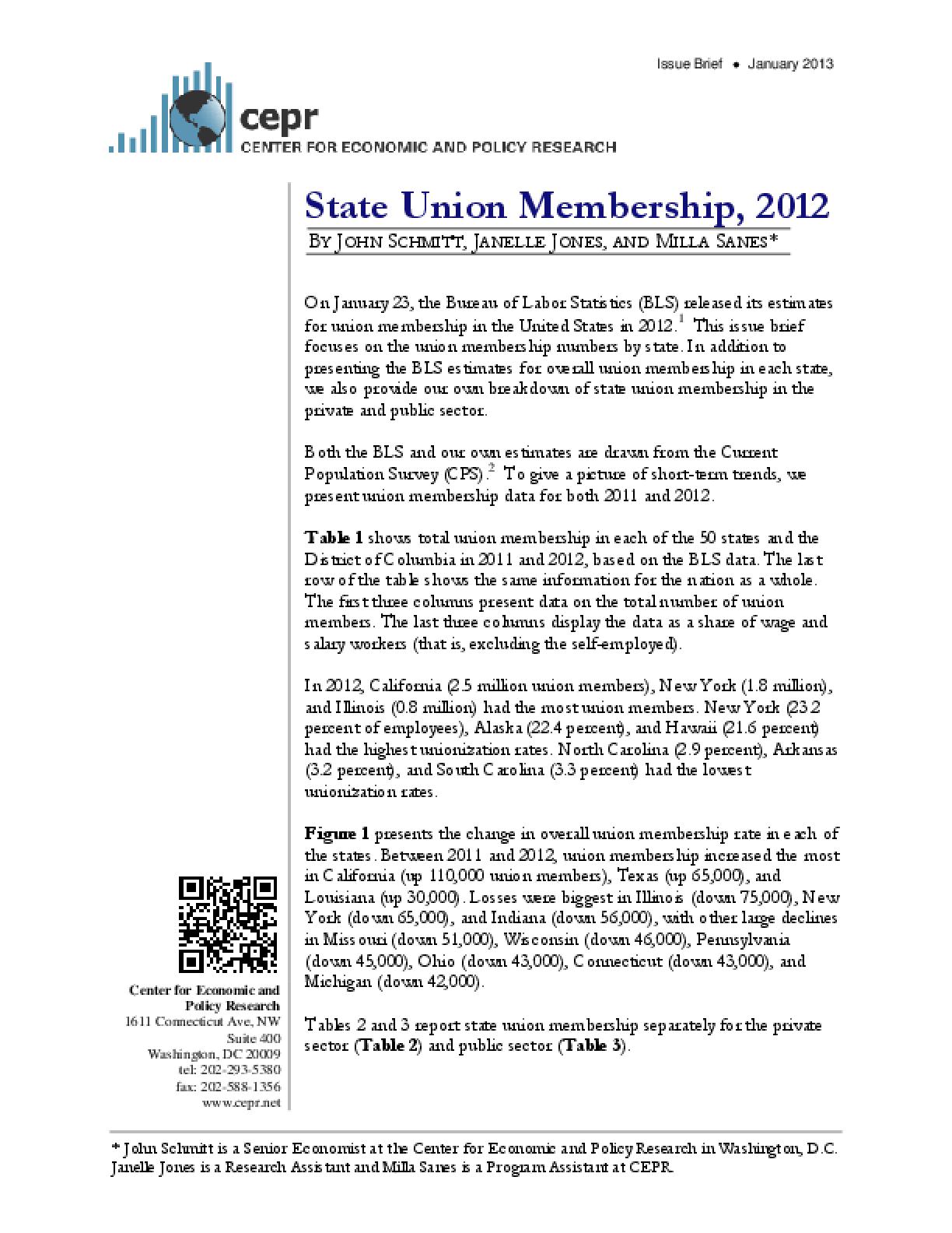 State Union Membership, 2012