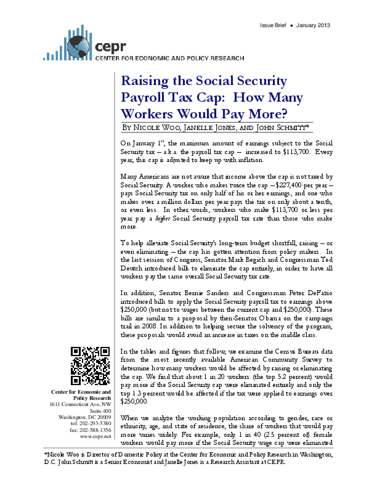 Raising the Social Security Payroll Tax Cap: How Many Workers Would Pay More?