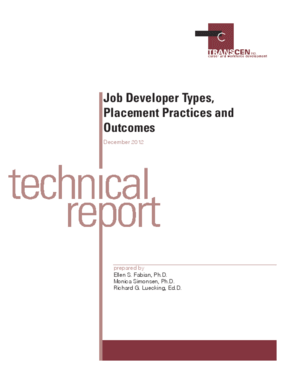Job Developer Types, Placement Practices and Outcomes Technical Report