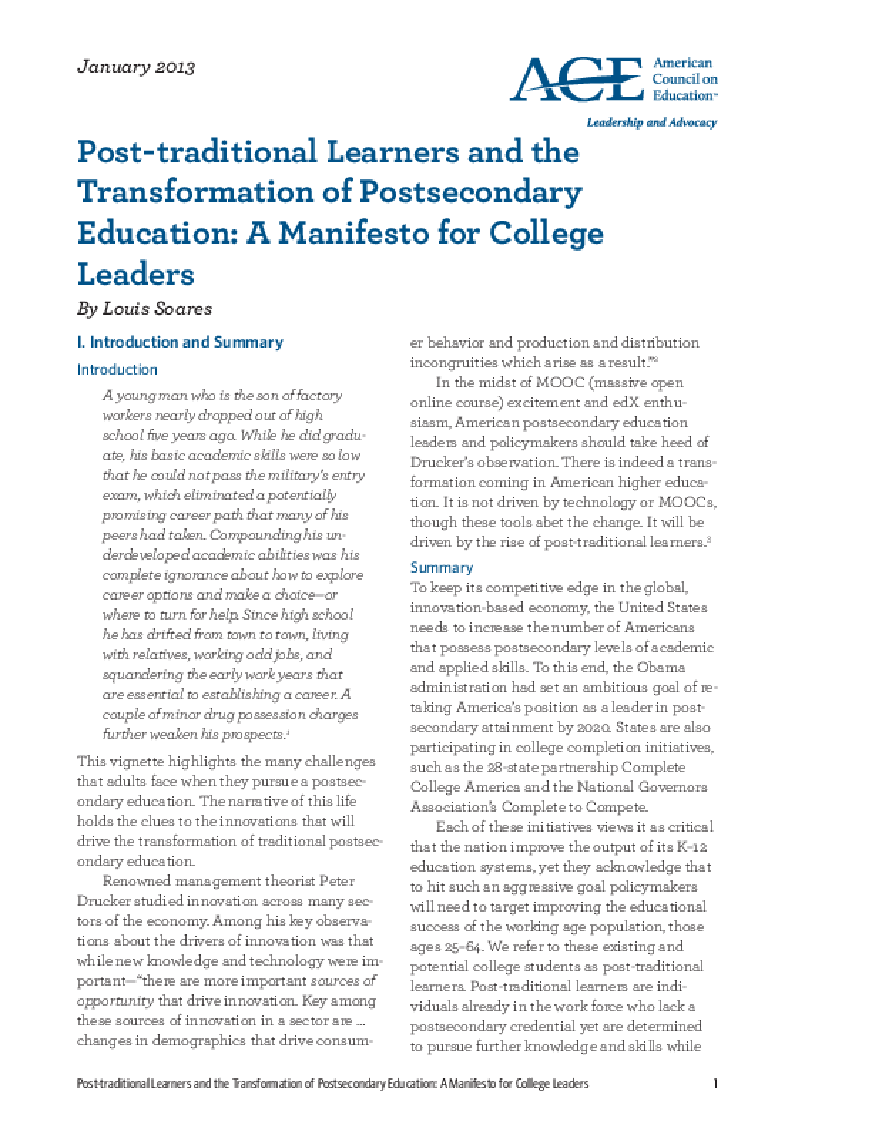 Post-traditional Learners and the Transformation of Postsecondary Education: A Manifesto for College Leaders