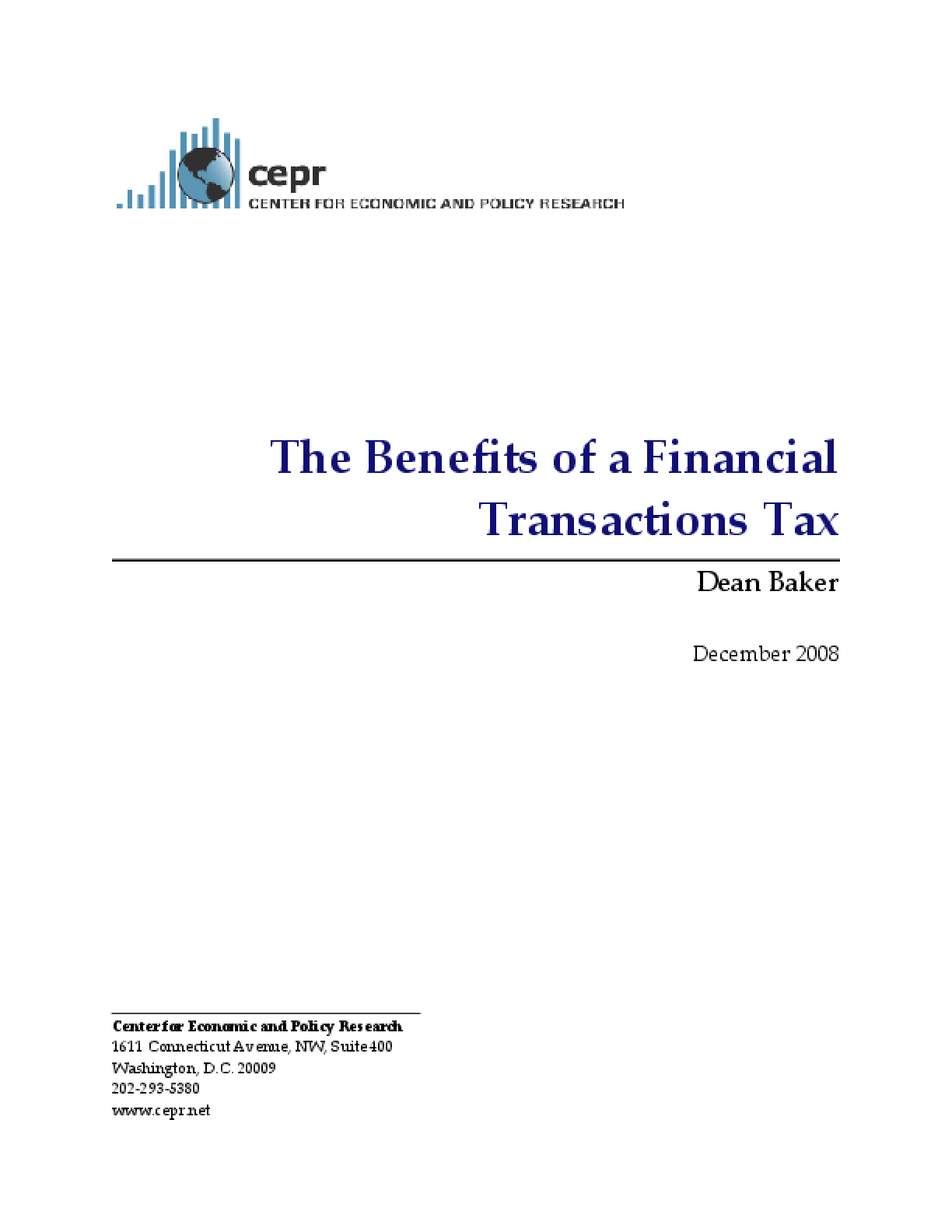 The Benefits of a Financial Transactions Tax