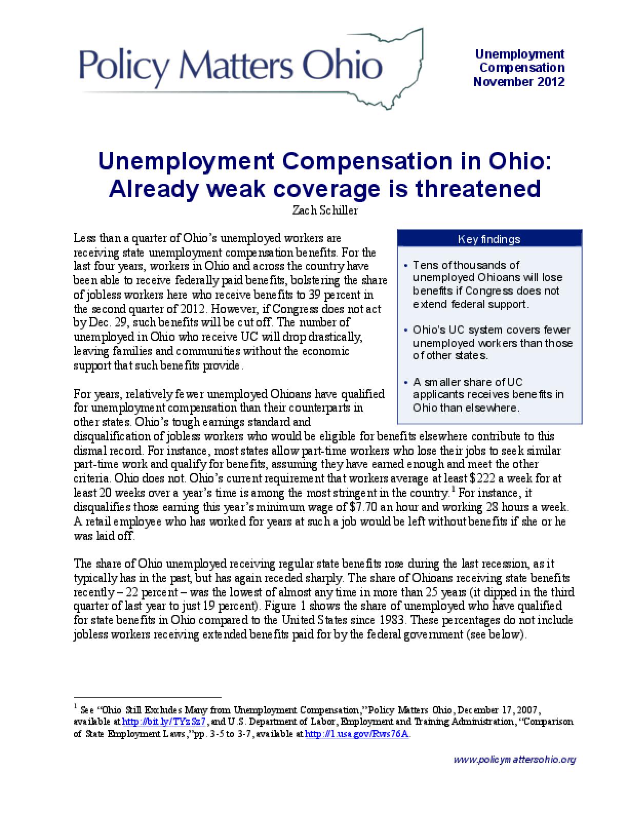Unemployment Compensation in Ohio: Already weak Coverage is Threatened