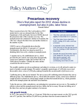Precarious Recovery: Ohio's Final Jobs Report for 2012 Shows Decline in Unemployment, but Also in Jobs, Labor Force