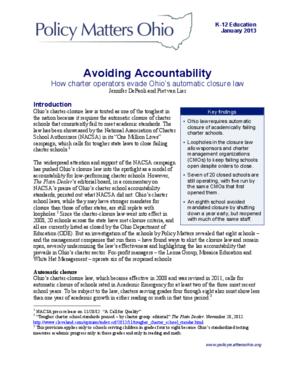 Avoiding Accountability: How Charter Operators Evade Ohio's Automatic Closure Law