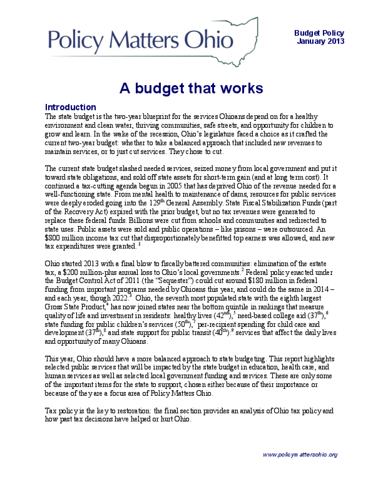 A Budget That Works