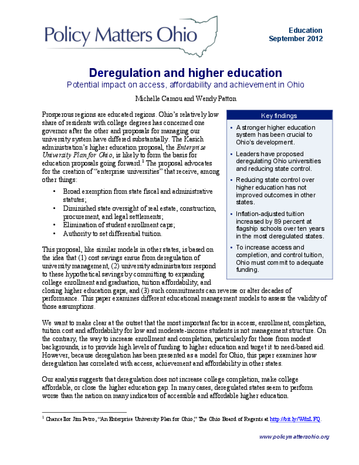 Deregulation and Higher Education: Potential Impact on Access, Affordability and Achievement in Ohio