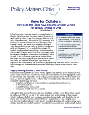 Keys for Collateral: How Auto-Title Loans Have Become Another Vehicle for Payday Lending in Ohio