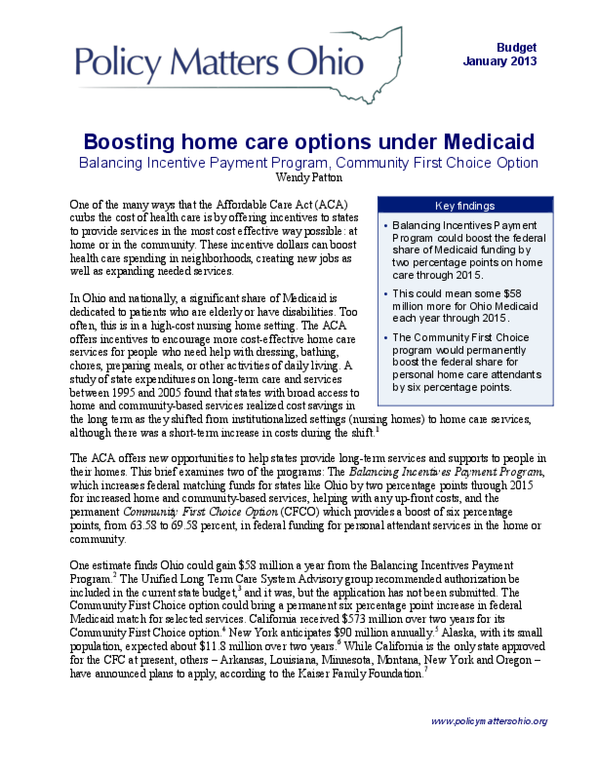 Boosting Home Care Options Under Medicaid: Balancing Incentive Payment Program, Community First Choice Option