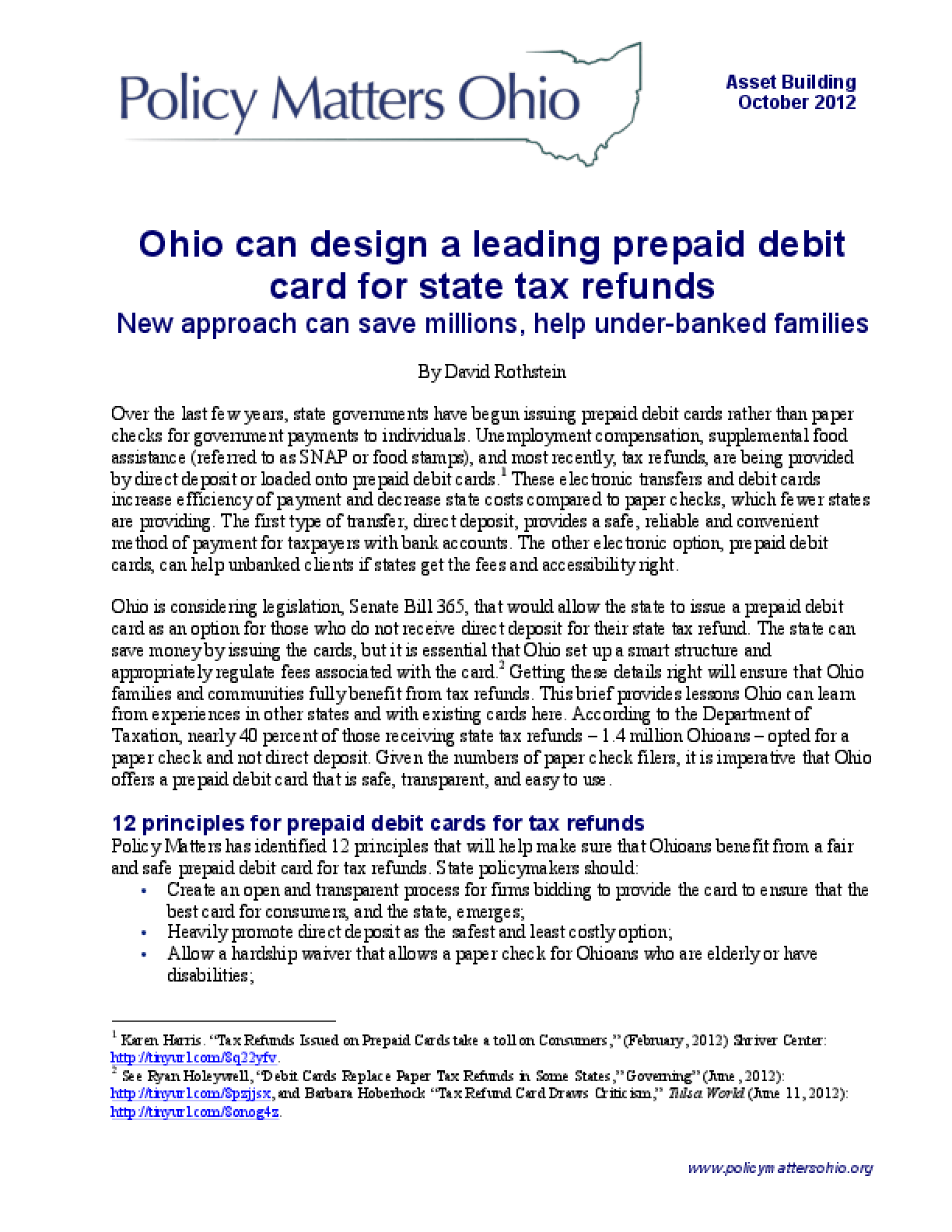 Ohio Can Design a Leading Prepaid Debit Card for State Tax Refunds: New Approach Can Save Millions, Help Under-Banked Families