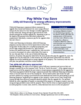 Pay While You Save: Utility-bill Financing for Energy-efficiency Improvements