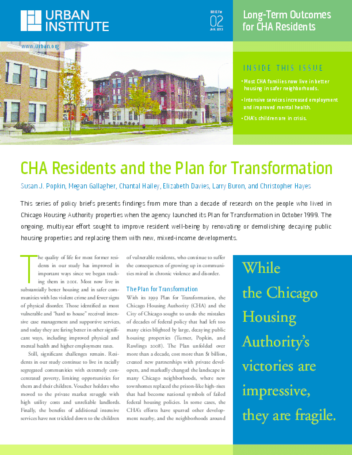 CHA Residents and the Plan for Transformation