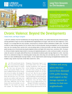 Chronic Violence: Beyond the Developments