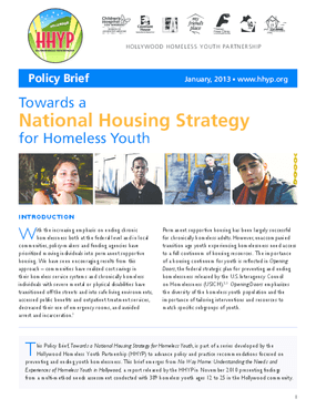 Towards a National Housing Strategy for Homeless Youth