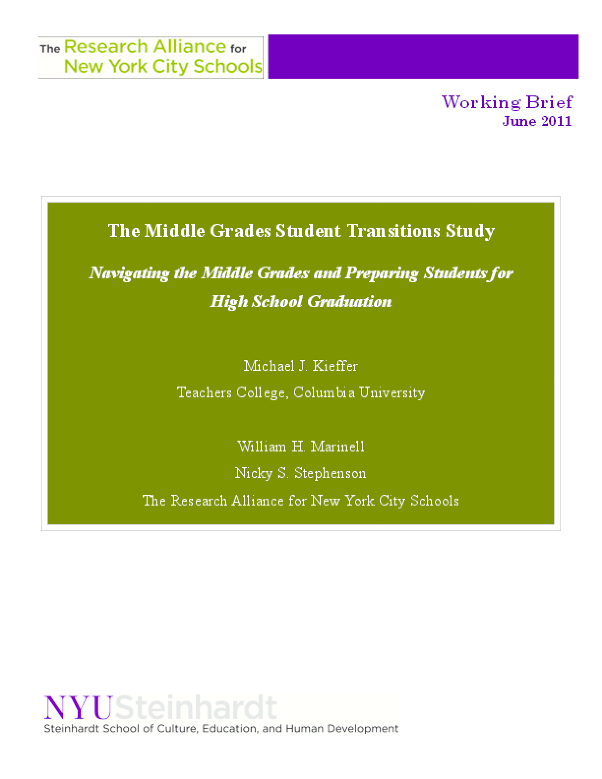 Navigating the Middle Grades and Preparing Students for High School Graduation