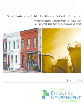 Small Businesses, Public Health, and Scientific Integrity