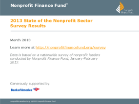 2013 State of the Nonprofit Sector Survey Results