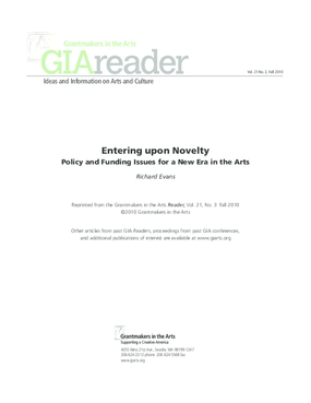 Entering Upon Novelty: Policy and Funding Issues for a New Era in the Arts