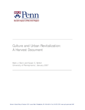 Culture and Urban Revitalization: A Harvest Document
