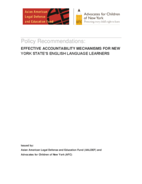 Effective Accountability Mechanisms for New York State's English Language Learners