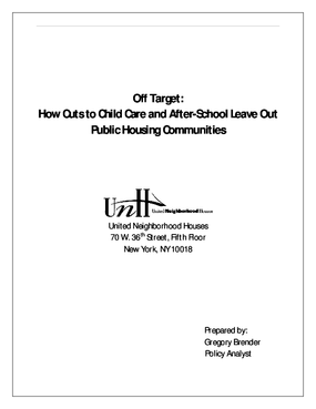 Off Target: How Cuts to Child Care and After School Leave Out Public Housing Communities