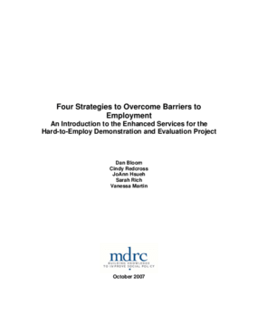 Four Strategies to Overcome Barriers to Employment: An Introduction to the Enhanced Services for the Hard-to-Employ Demonstration and Evaluation Project