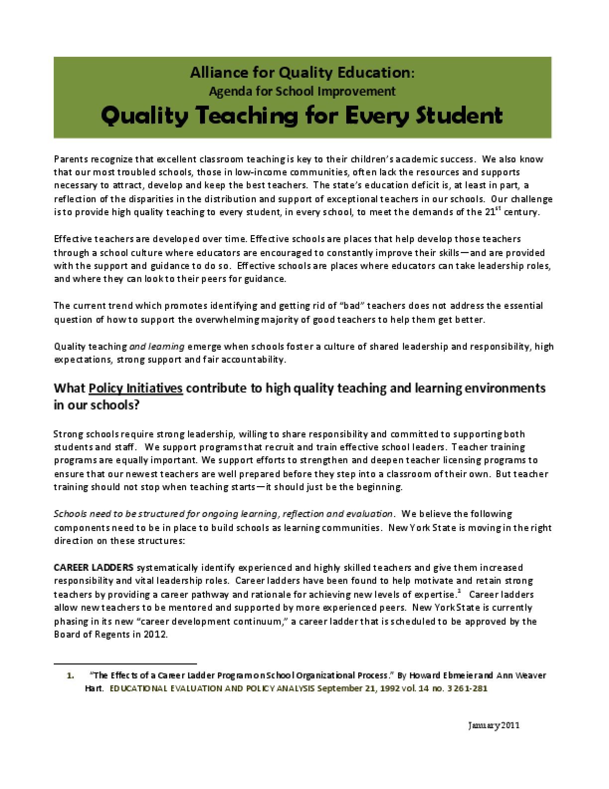 Quality Teaching for Every Student