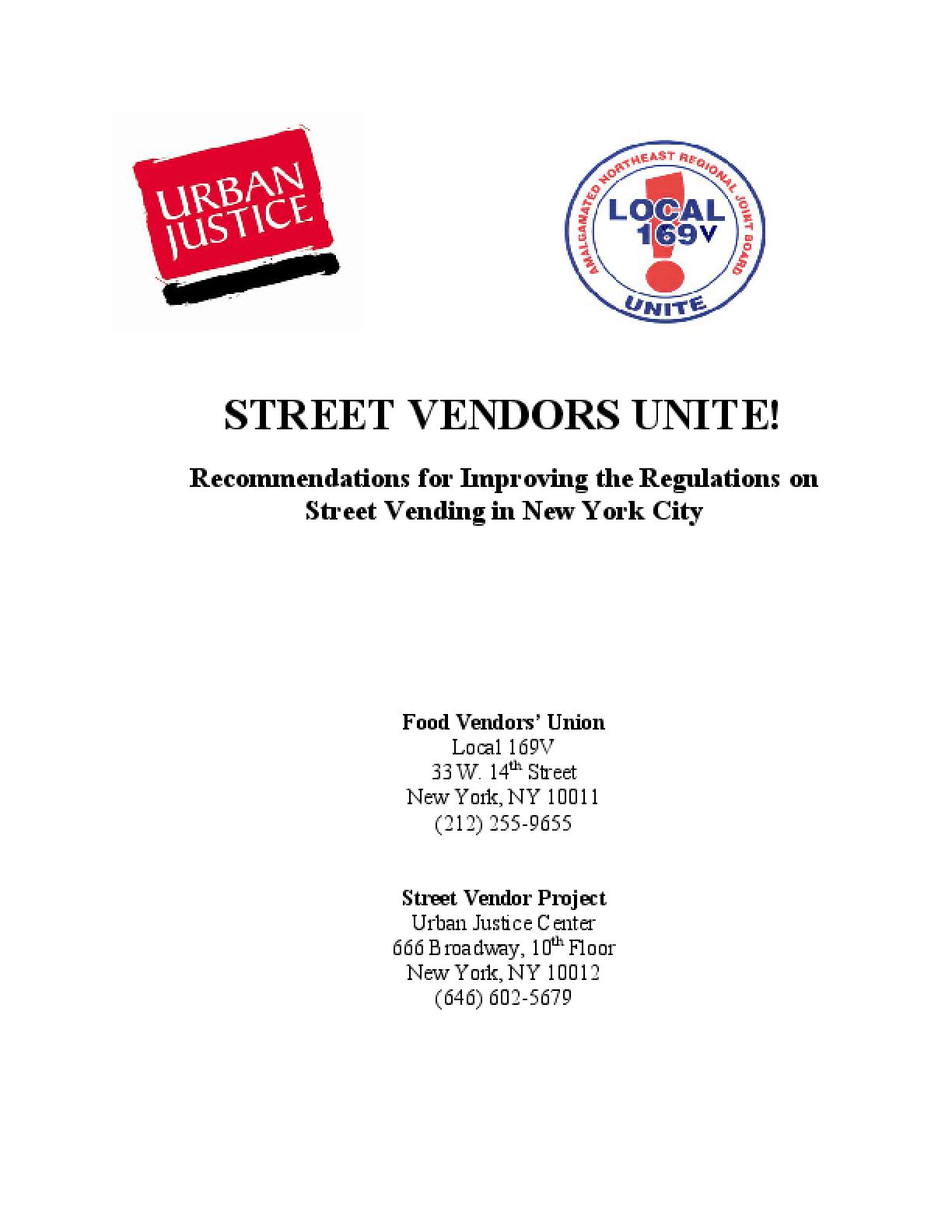 Street Vendors Unite! Recommendations for Improving the Regulations on Street Vending in New York City