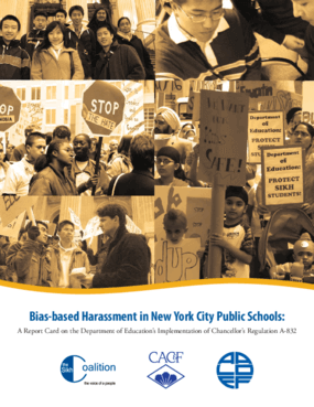 Bias-based Harassment in New York City Public Schools: A Report Card on the Department of Education's Implementation of Chancellor's Regulation A-832