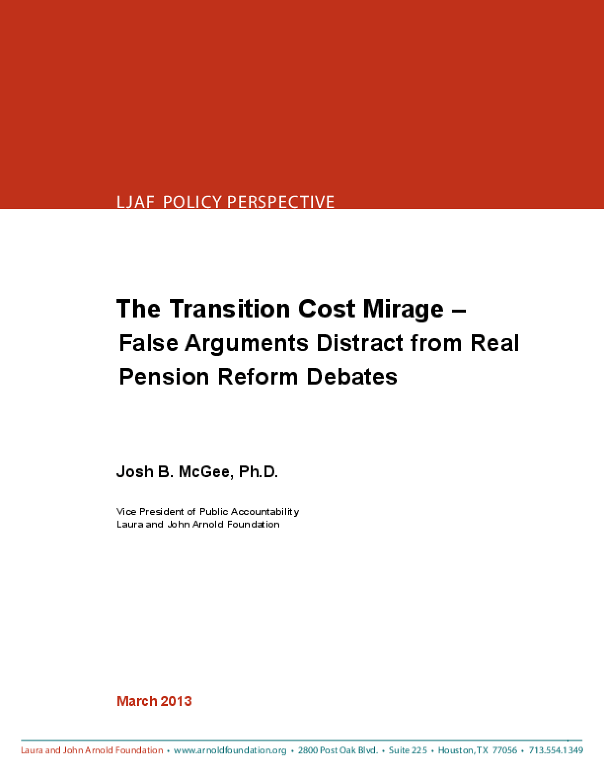 The Transition Cost Mirage: False Arguments Distract from Real Pension Reform Debates