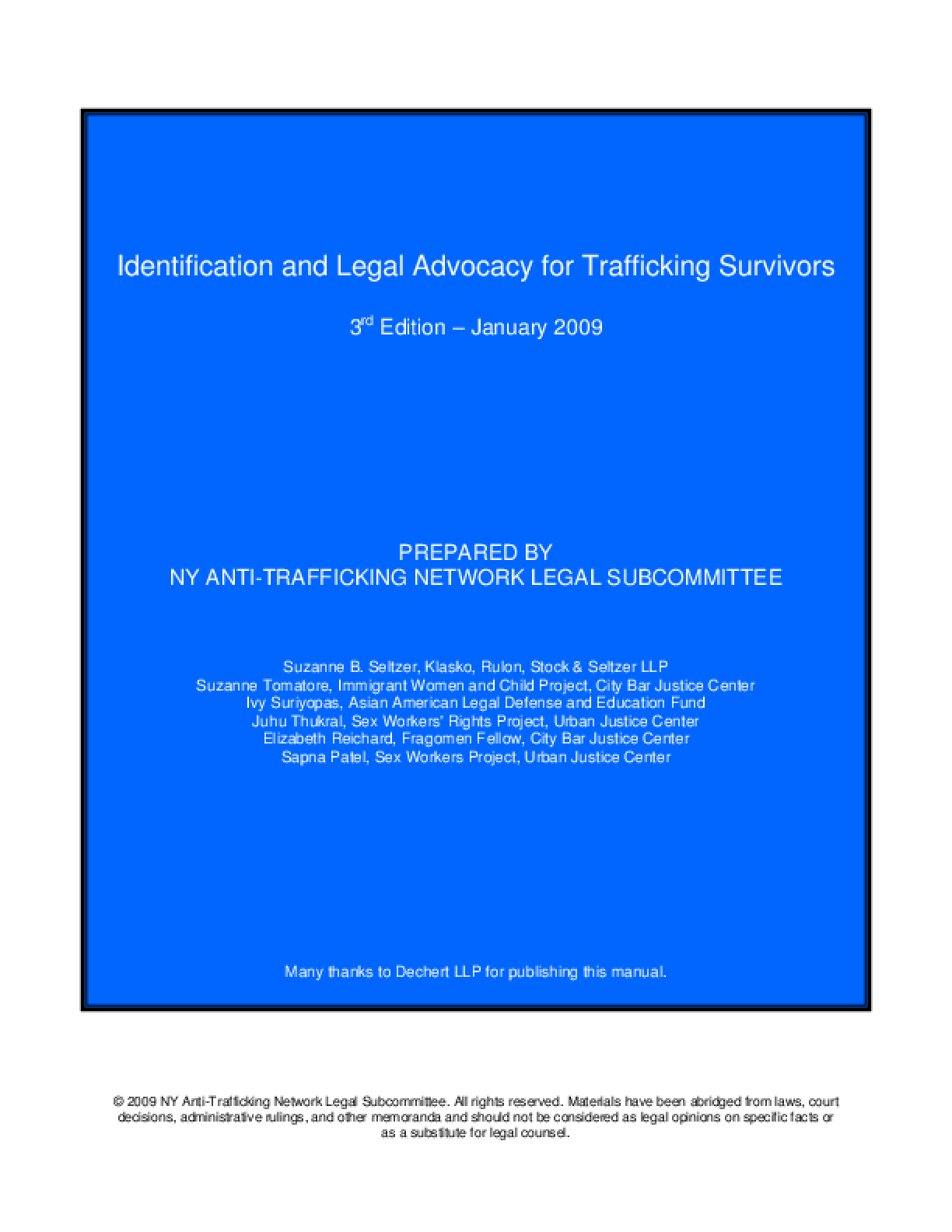 Identification and Legal Advocacy for Trafficking Survivors