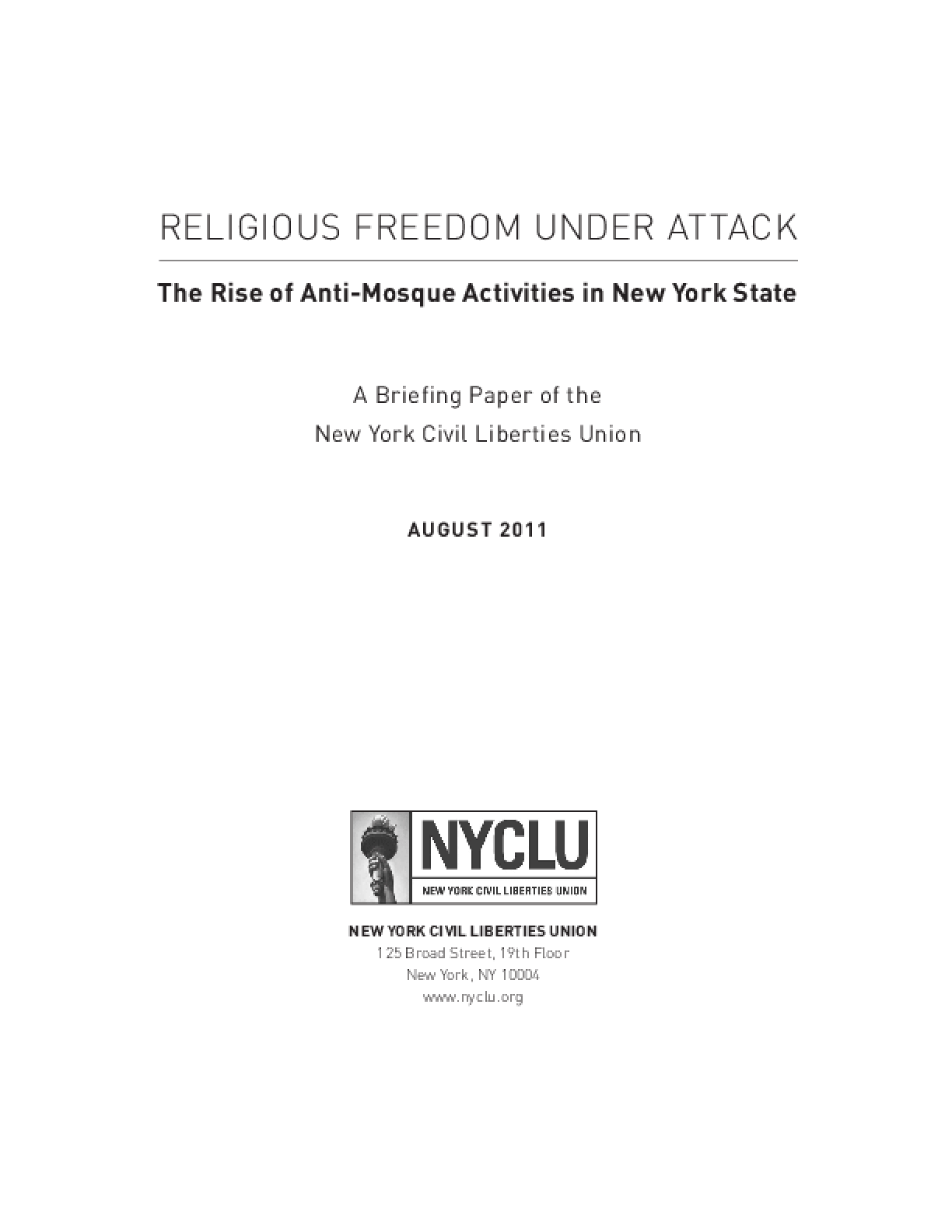 Religious Freedom Under Attack: The Rise of Anti-Mosque Activities in New York State