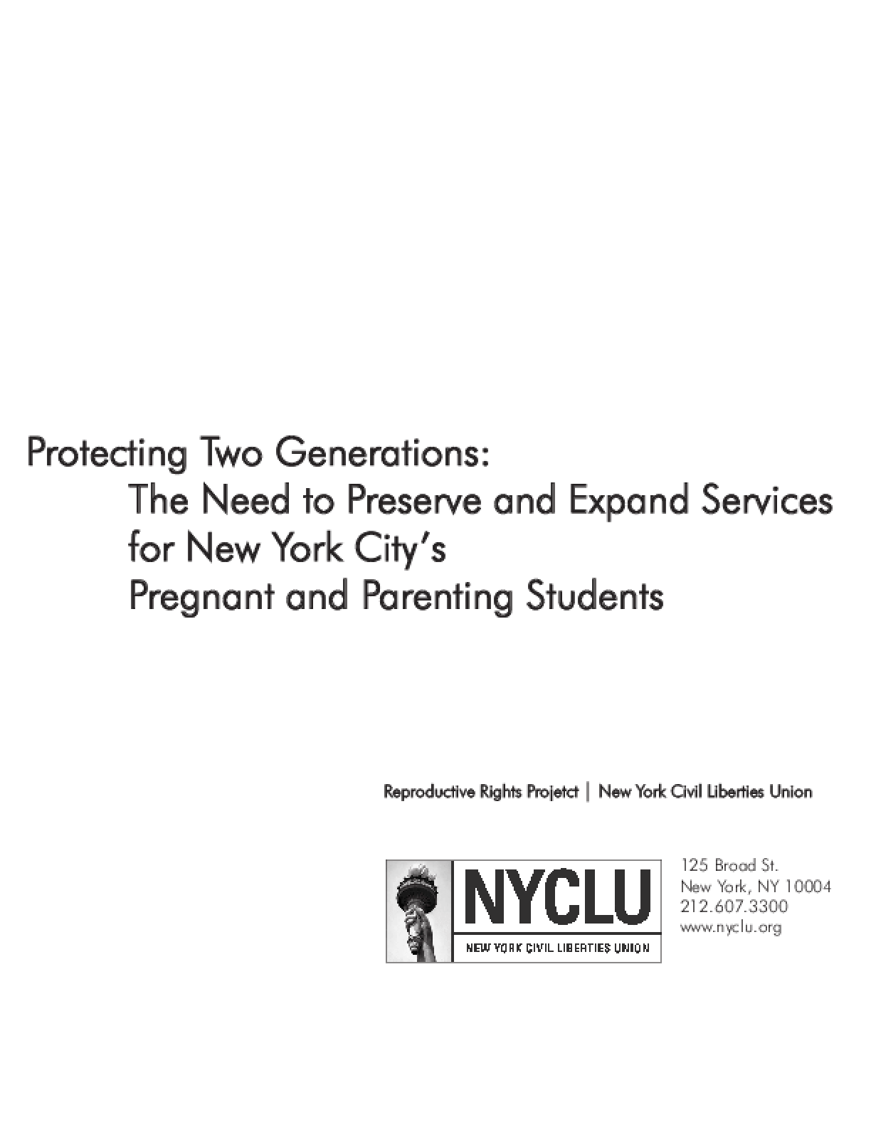 Protecting Two Generations: The Need to Preserve and Expand Services for New York City's Pregnant and Parenting Students