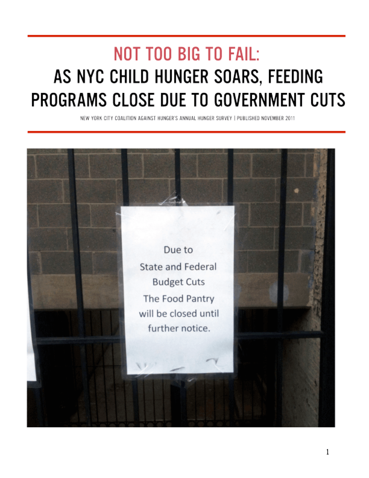 Not Too Big to Fail: As NYC Child Hunger Soars, Feeding Programs Close Due to Federal Cuts