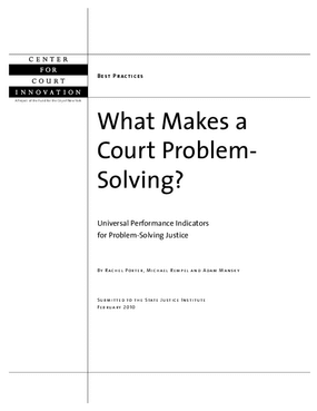 What Makes A Court Problem-Solving: Universal Performance Indicators for Problem-Solving Justice