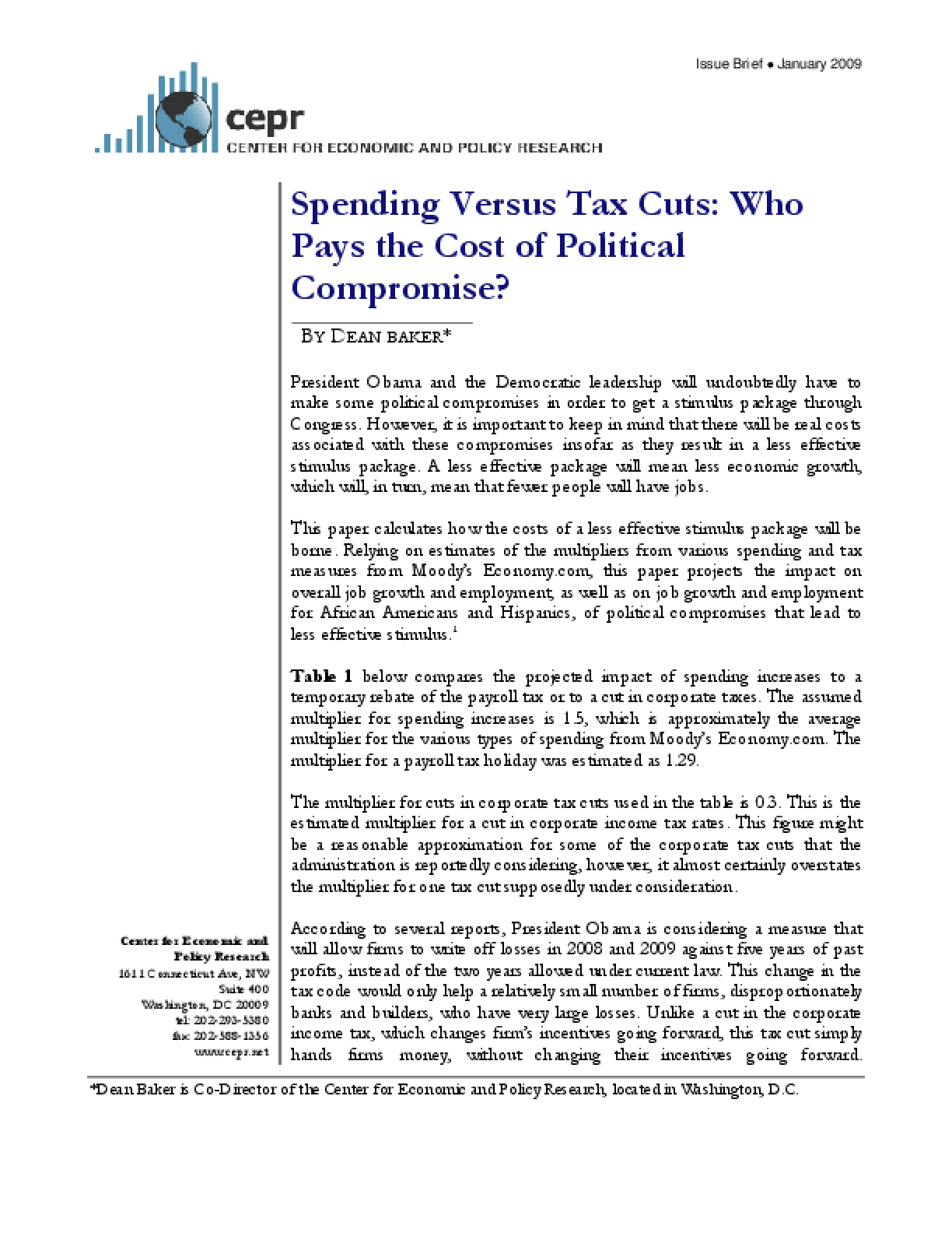 Spending Versus Tax Cuts: Who Pays the Cost of Political Compromise?