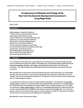 An Assessment of Methods and Findings of the New York City Economic Development Corporation's Living Wage Study