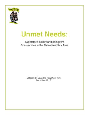 Unmet Needs: Superstorm Sandy and Immigrant Communities in the Metro New York Area