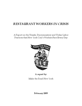 Restaurant Workers in Crisis: A Report on the Unsafe, Discriminatory and Unfair Labor Practices that New York City's Workers Face Every Day