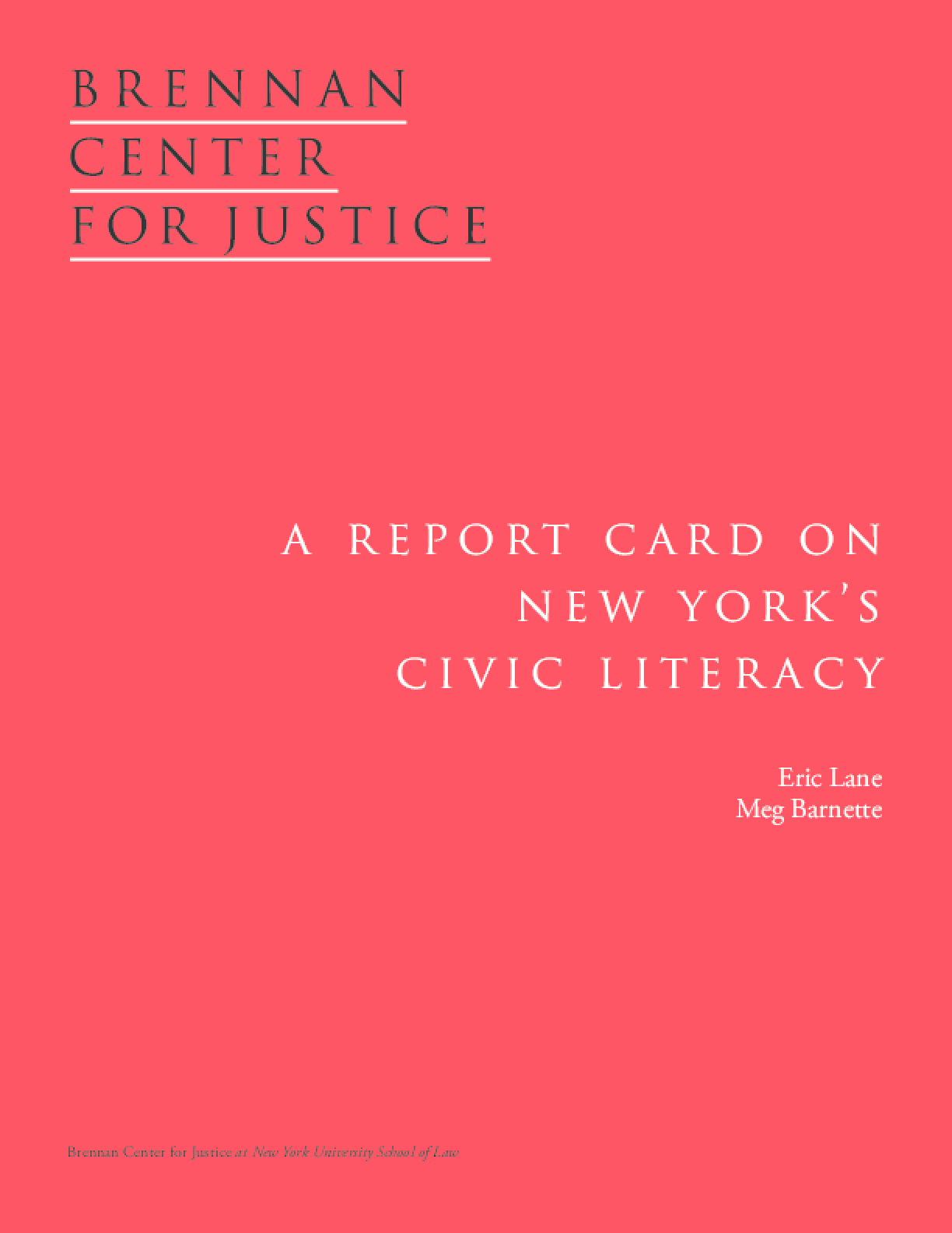 A Report on New York's Civic Literacy
