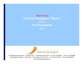 Grantee Perception Report: Ford Foundation 2012